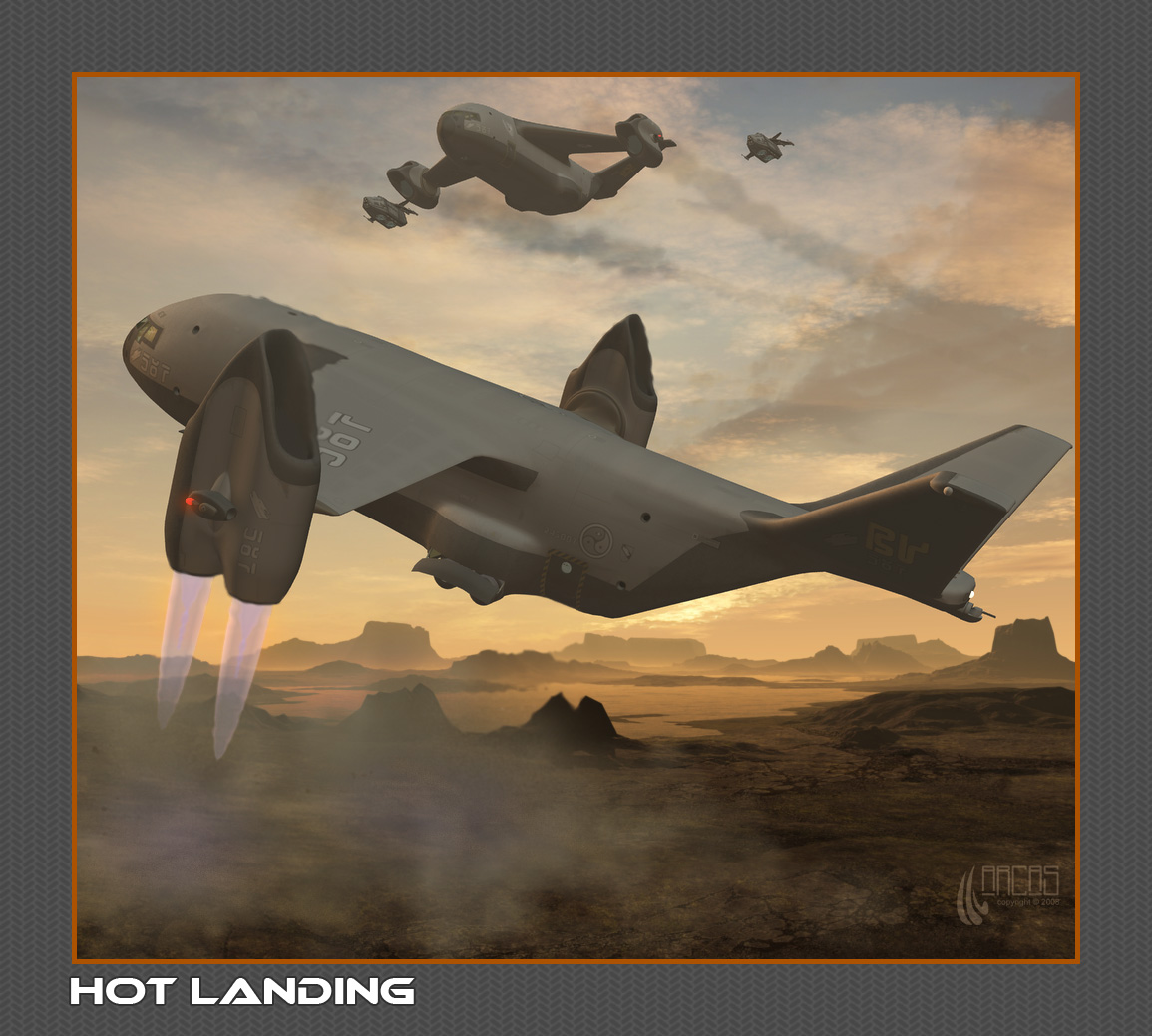Hot Landing: Thunderlifters and a couple of Centurions. Rendered in DAZ Studio. Background from Didi_mc. Composited in Photoshop.