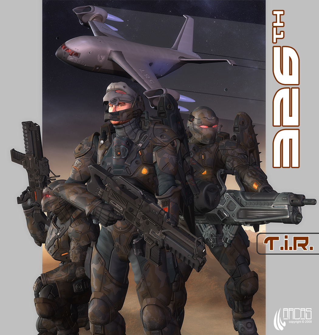 326th T.I.R.: The boys of the 326th Transatmospheric Infantry Regiment and their fine ride. Rendered in DAZ Studio, composited in Photoshop.