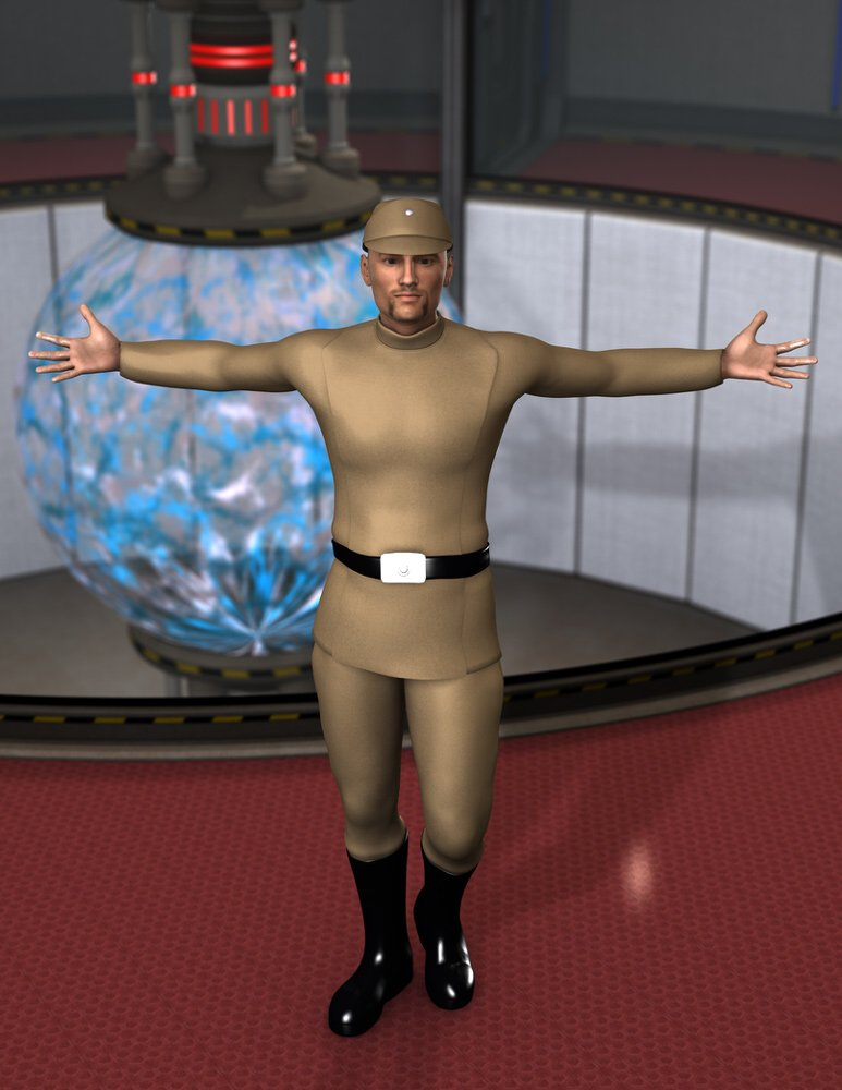 Galactic Officer 2: An imperial officer tries to do some arm-stretching exercises while on a break.