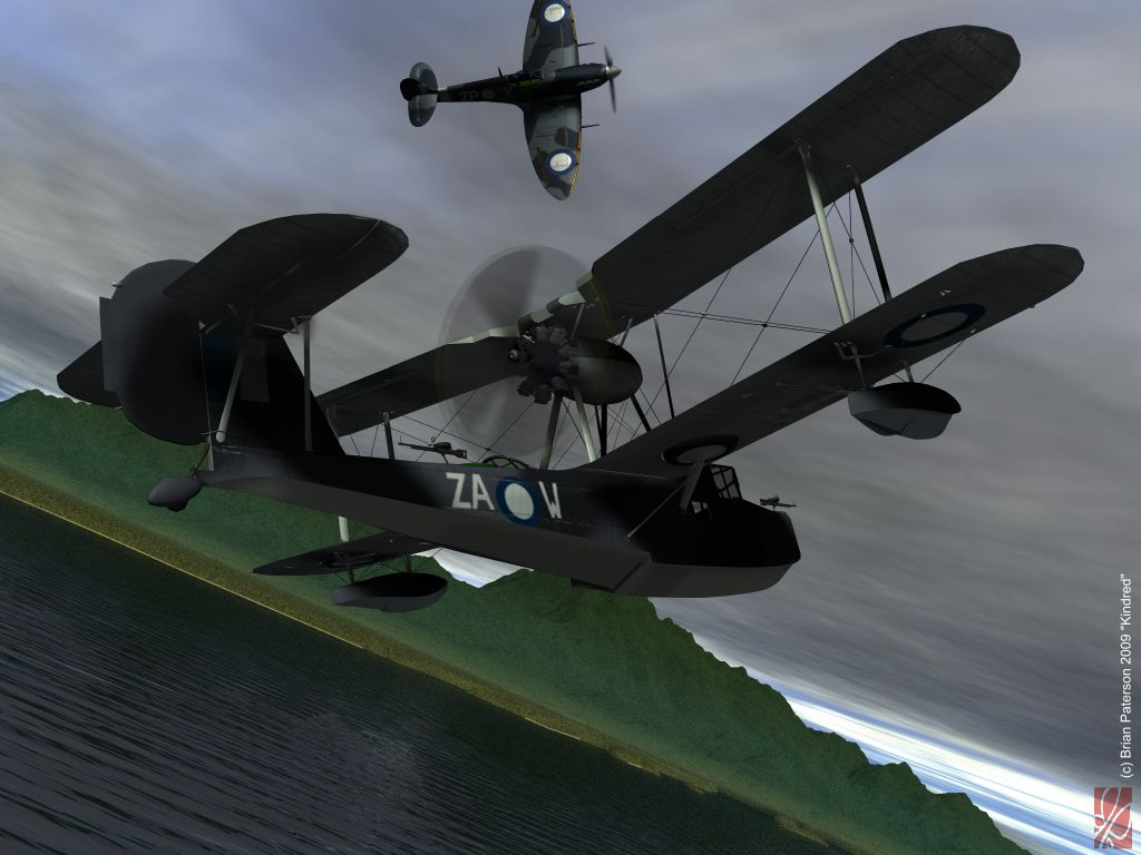 Kindred: Models rendered in Poser 6. RAAF Camouflague textures for the models and post-work in Painter 8. The distant Spitfire is a retextured 3ds model (Amazing 3D graphics).The background sea and terrain were rendered in Bryce 6.1.
