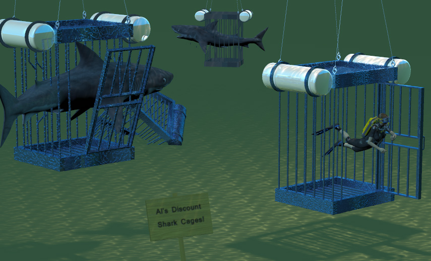 Discount Shark Cages: Sharks enjoy the discounted cages.