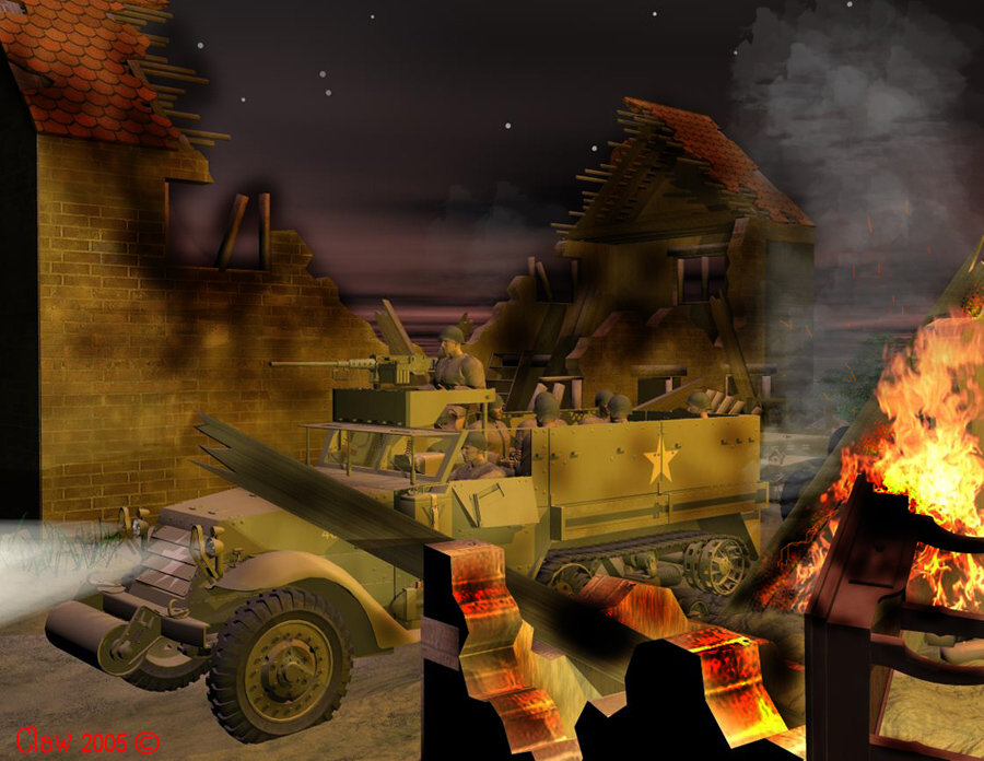Destroyed village: Completely done in Poser. The half track you will recognise, and the ruins were a freebie by Zippy.