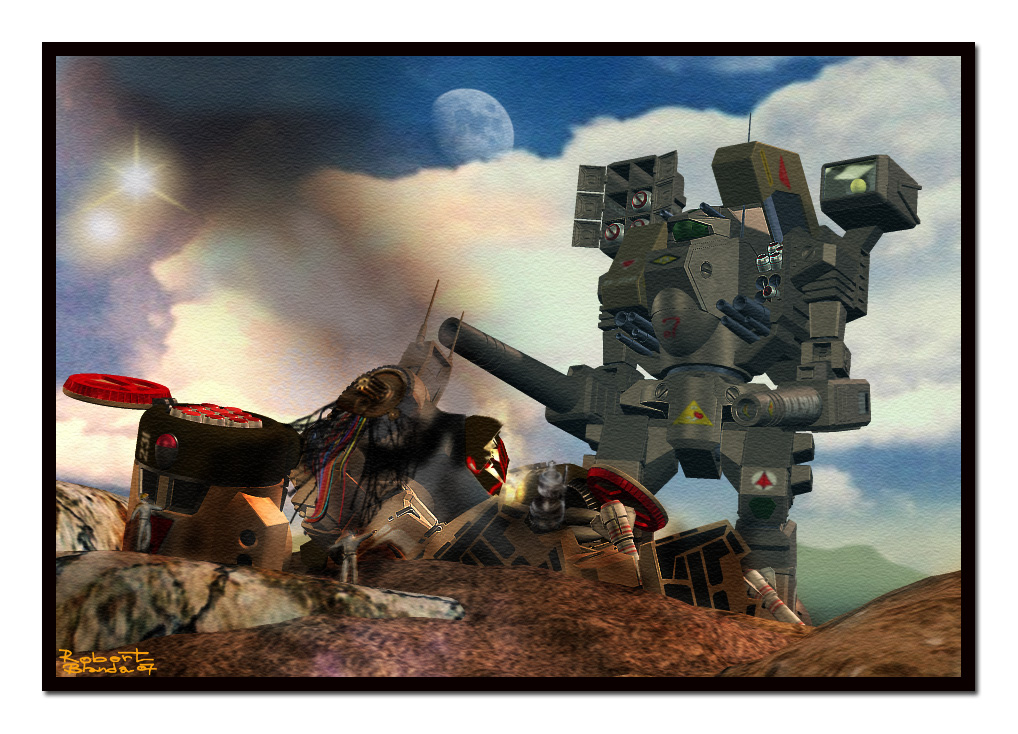 Clash of Titans: Tomahawk mech standing over wreckage of Phalanx mech. Made with Poser 7.
