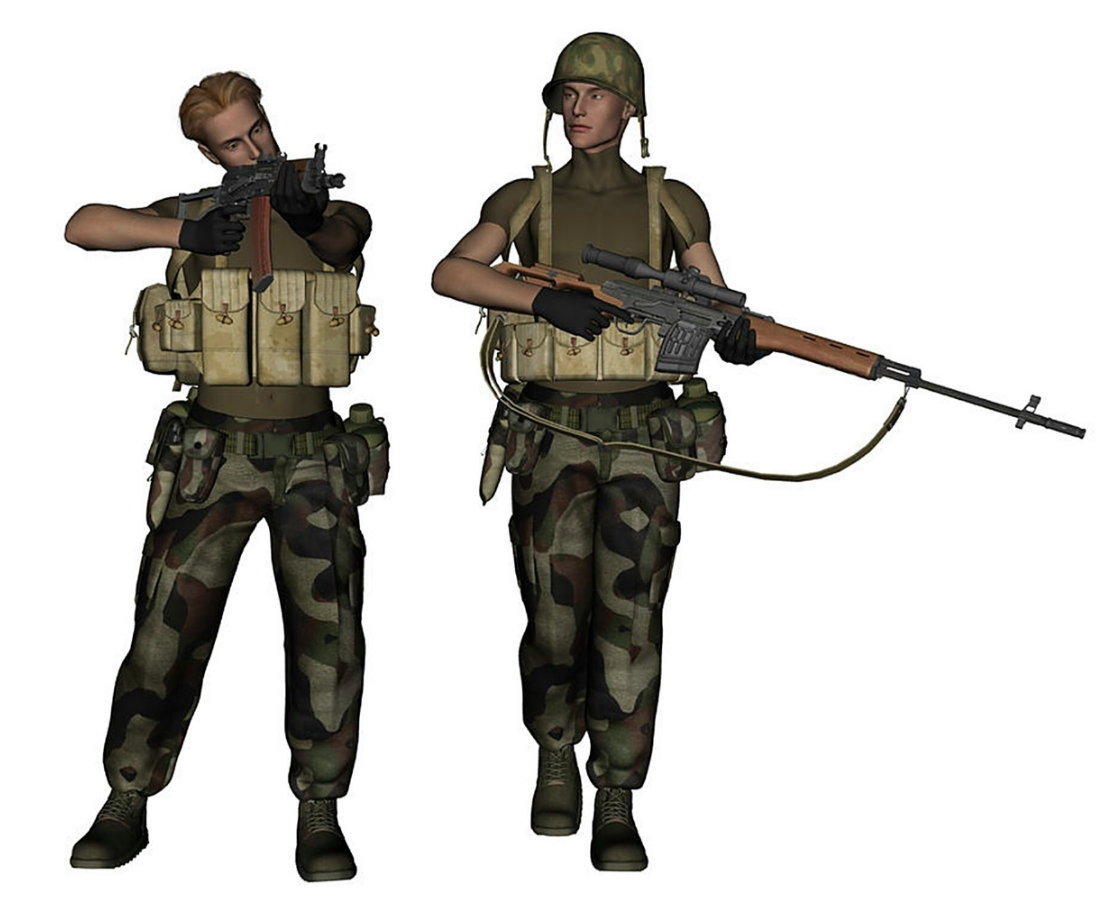 San Carlos Rebels: 3D concept renders of rebel soldiers from the fictional (AGU) Central American nation of San Carlos.
