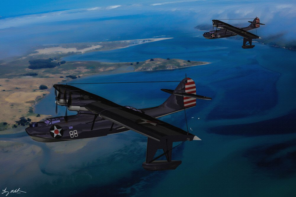 Home From Patrol: The Consolidated PBY Catalina flies over the South Pacific on the way home from patrol.