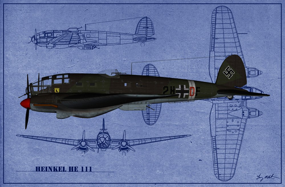 Heinkel HE-111 Blueprint: A blueprint-image of the Heinkel HE-111