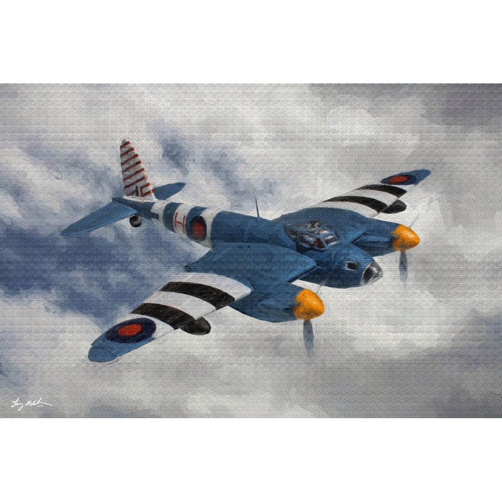 de Havilland Mosquito PR Oil 1: A digital version of the de Havilland Mosquito PR Oil 1 painting.