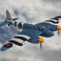 Click to see the full-sized image: 'de Havilland Mosquito PR Oil 1'.
