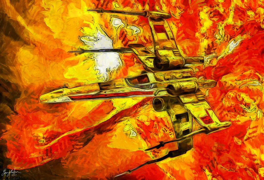 X-Wing on Oil: A digital version of an X-Wing Fighter oil painting.