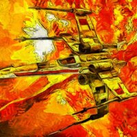 Click to see the full-sized image: 'X-Wing on Oil'.
