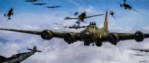 Fortress Under Attack: A Flight of Boeing B-17G Flying Fortresses under attack by the German Luftwaffe over Germany in 1944.
