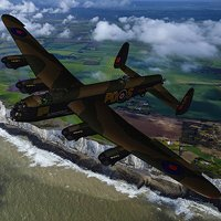 Click to see the full-sized image: 'RAF Avro Lancaster over the White Cliffs of Dover'.