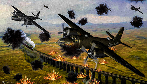 Maurauder raid ETO Oil: A squadron of Martin B-26 Marauder`s makes a bombing run on a railroad bridge in Europe in WW2.  I created this print with Vanishing Points B-26 Marauder model then created the background and explosions with, DAZ3D, Photoshop, Alienware, Topaz Impressionism, and Lightroom. I use several art programs until I find the finish I like the best.