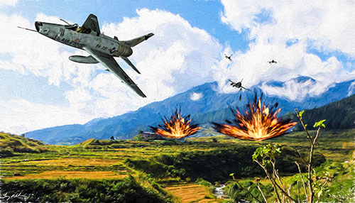 Super Sabre Bomb Run: I used Vanishing Points North American F-100 Super Sabre from Vanishing Point. I created this image with DAZ 3D, Photoshop, Lightroom, Alienware, Topaz Impressionism.
