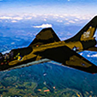 Click to see the full-sized image: 'USAF A-7 Corsair II over the heartland'.