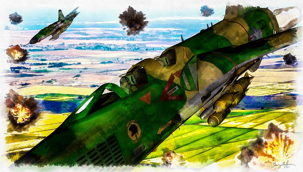 Rolling Thunder the Thud: Rolling Thunder the Thud, 2 F-105 Thunderchiefs on a  bomb run over North Vietnam.  Created with Chris Schell`s F-105 Thunderchief. Created in Watercolor effect with, Photoshop, DAZ 3D, Lightroom, Alienware, Topaz Impressionism.