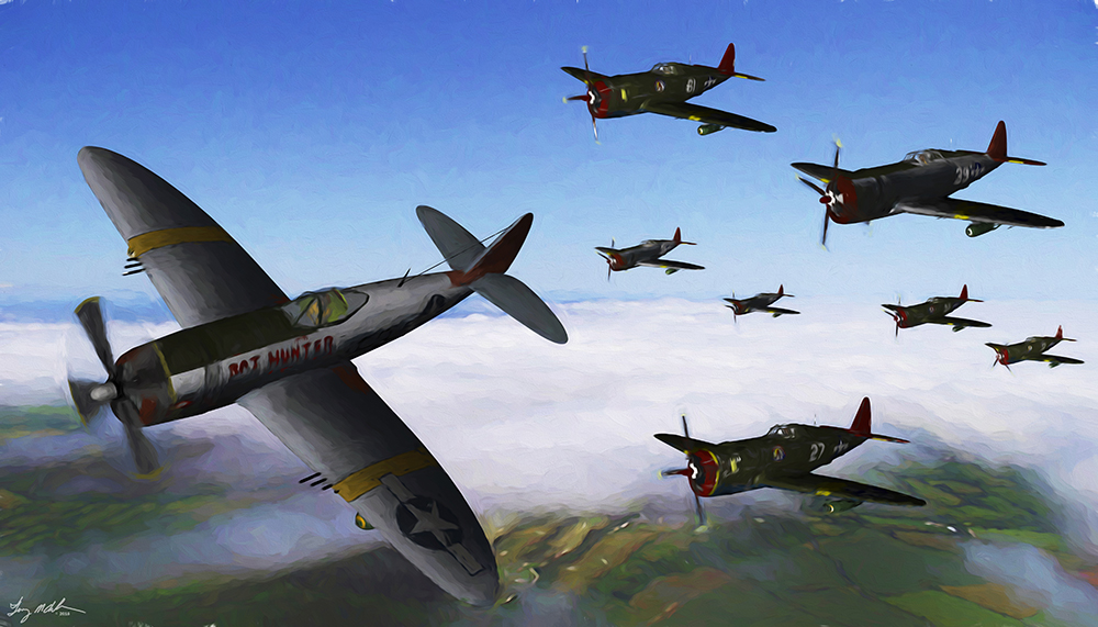 Red Tail Thunderbolts: Red Tail Thunderbolts -My digital oil print of the the Republic P-47 Thunderbolts both bubbletop and razorback versions flown by the famed Tuskegee Airmen of the 332nd Fighter Group in World War 2. These were old and wore out fighters assembled from other units and given to the 332nd prior to their receiving the famed P-51 Mustang.