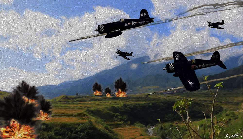 Danger Close: Danger Close Vought F4U Corsairs of the USMC VMF-312 The Checkerborders providing close air support to Marine infantry in Korea 1950.