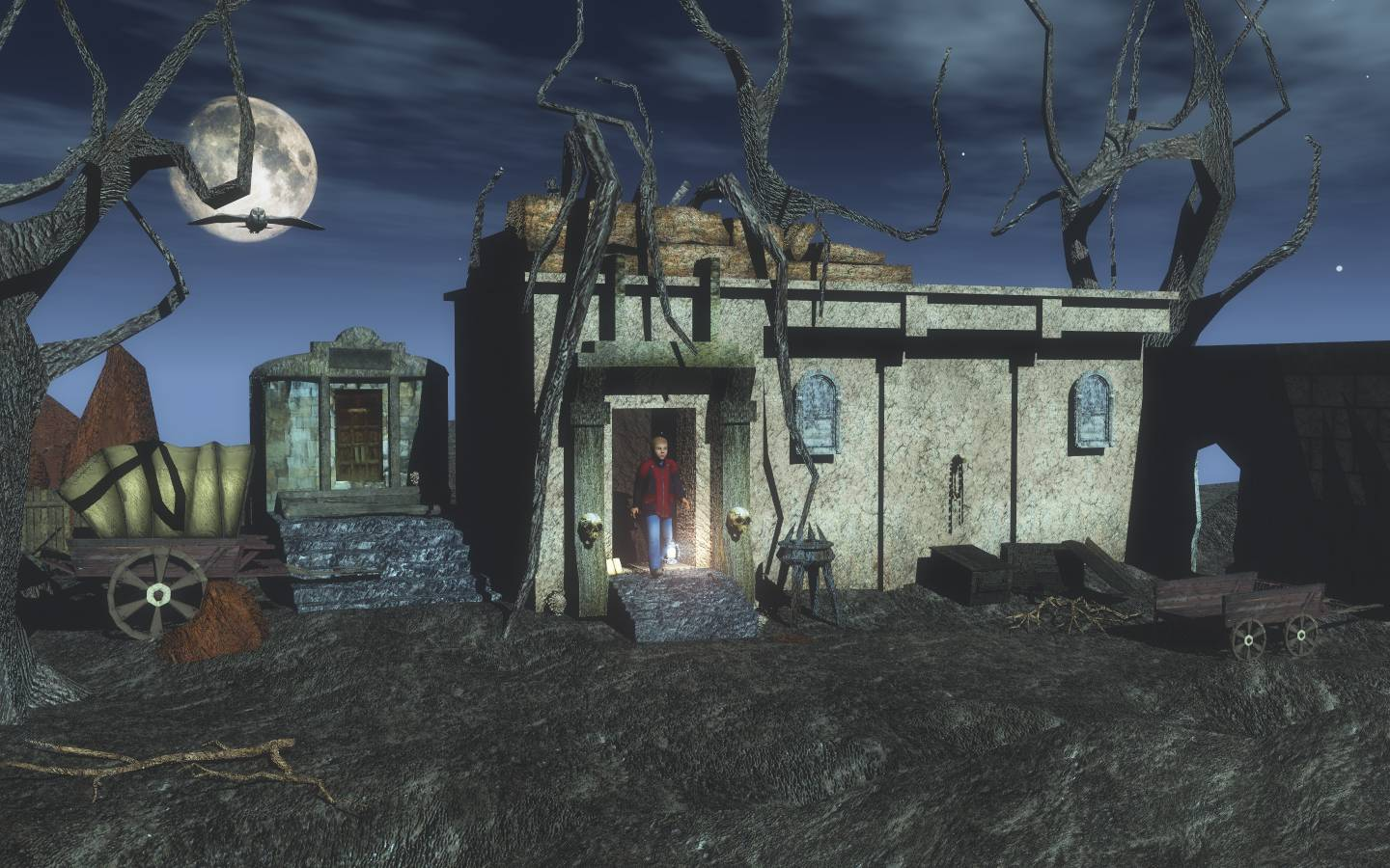 Vincent`s Priceless Moments: Rendered this in Vue Esprit by taking advantage of the Derelict Temple Set in Vue Esprit and the Moonlight Atmosphere and Eon