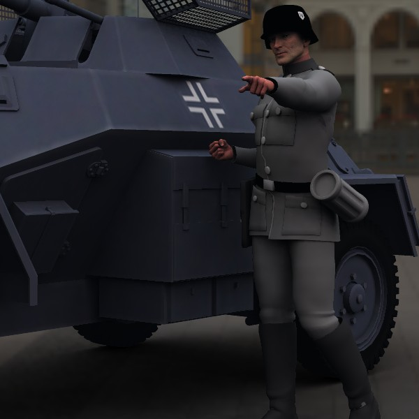 Traffic director 1942: Testing my new Mike 2 character with the free Panzer grenadier uniform and the SDKFZ222.