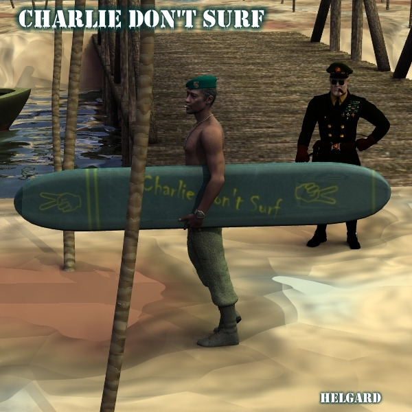 Charlie don`t surf: M3, the BDU uniform from EdW, the Vietnam gear from Panko, Surfboard from the Pibber, scenery from the Military Environment 3, Beret from Panko, General from Lightbox.