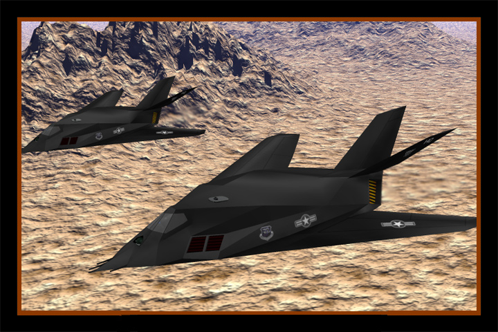 Stealth Attack: Two Stealth Fighters fly a recon mission over the desert, selecting military targets for tonight's bombing mission.