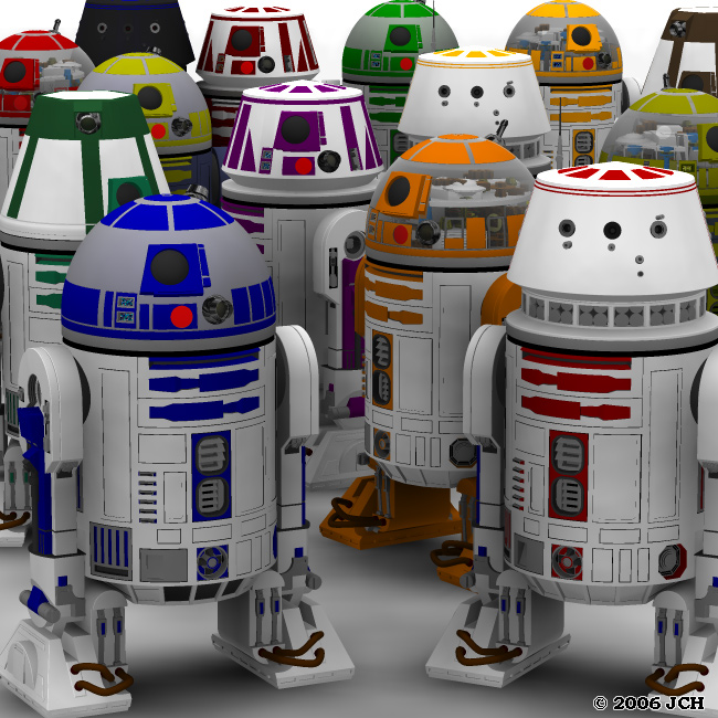 Droids!: Rendered in Poser 6, this scene has 13 figures and just over 1.2 million polygons.