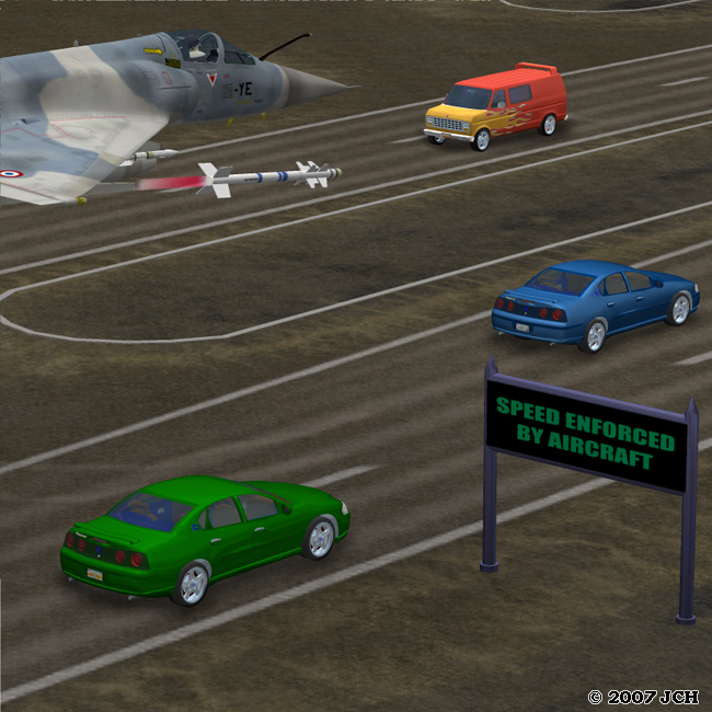 Speed Enforced by Aircraft (Humor): Roadway is the `Parking Lot` from `Celeste`s Diner`. Street sign is from the `Vertex Point: Signs & Paths` (available for free).