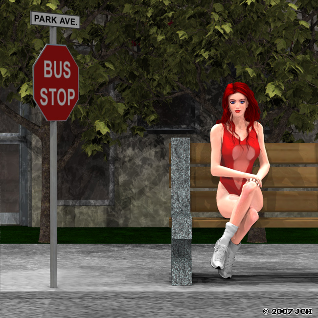 The Girl at the Bus Stop: Rendered in Poser 7 using ray-traced shadows.