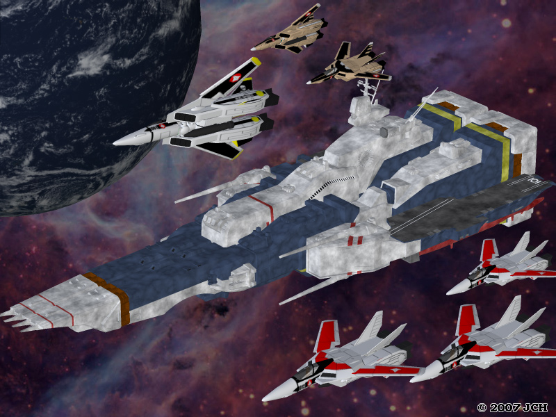 SDF-1 and Squadron: Just a shot of the SDF-1 and a squadron of fighters.