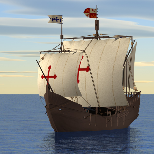 Pinta at Sea: The Pinta at sea. Model from the DeEspona collection, Poser conversion by me, image rendered in Lightwave 7.5.