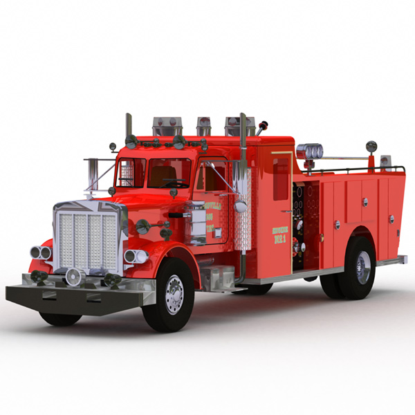 Peterbilt Fire Truck: Another model from the DeEspona collection. Converted to Poser format by me, rendered in Lightwave.