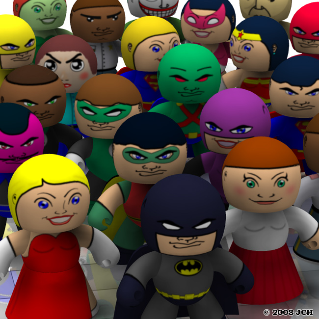 Veeples!: A render of the Veeples, with assorted comic book characters from the free add-on texture sets.