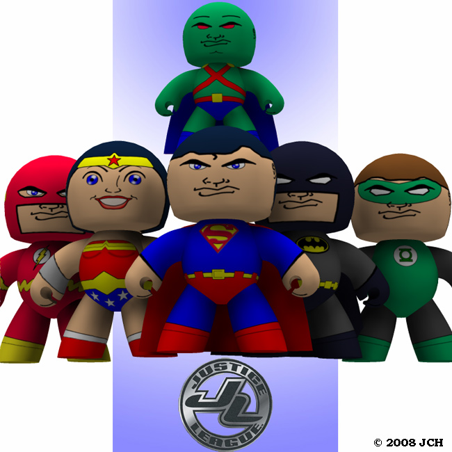 Justice League Veeples: An image of the Justice League with Veeples.