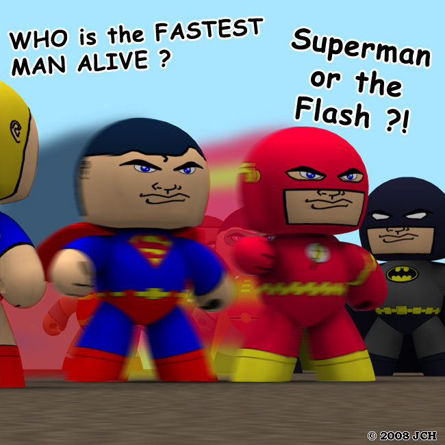 Veeples: The Fastest Man Alive: Who is the fastest man alive: Superman or the Flash? From the looks of this image, they`re tied!