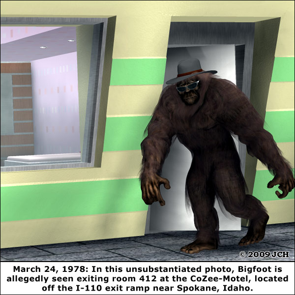 Yet Another Unsubstantiated Bigfoot Sighting: Bigfoot by e-frontier (available at Content Paradise), Deluxe Motel by ratracer