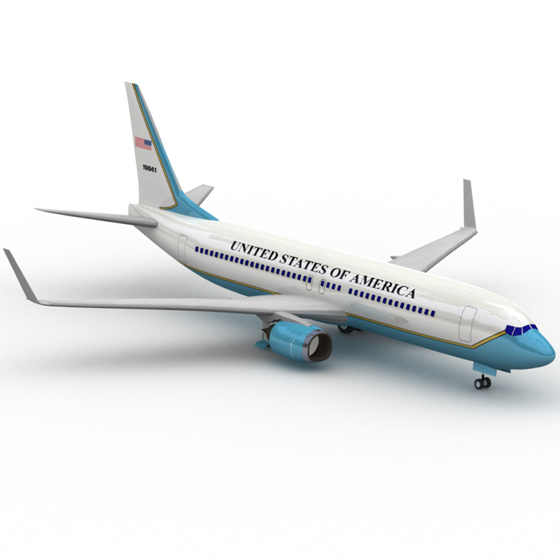 737: Air Force One: A Lightwave-rendered image of the 737 aircraft model with the Air Force One texture design. Although the 747 is now the official aircraft of Air Force One, the 737 aircraft is mainly used when the vice-president needs to be flown somewhere.