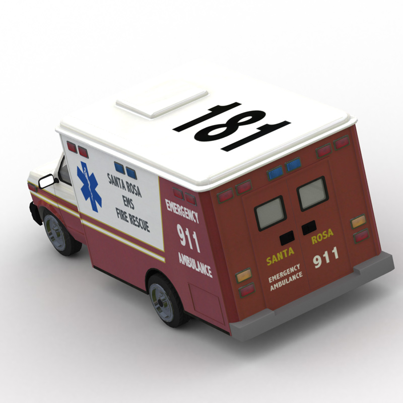 Ambulance GI 2: Another Global Illumination (GI) Lightwave-rendered image of the new Ambulance model.