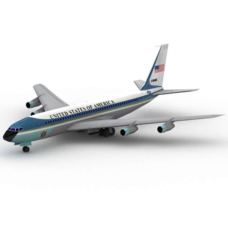 707: Air Force One: A Lightwave-rendered image of the 707 aircraft model with Air Force One coloring.