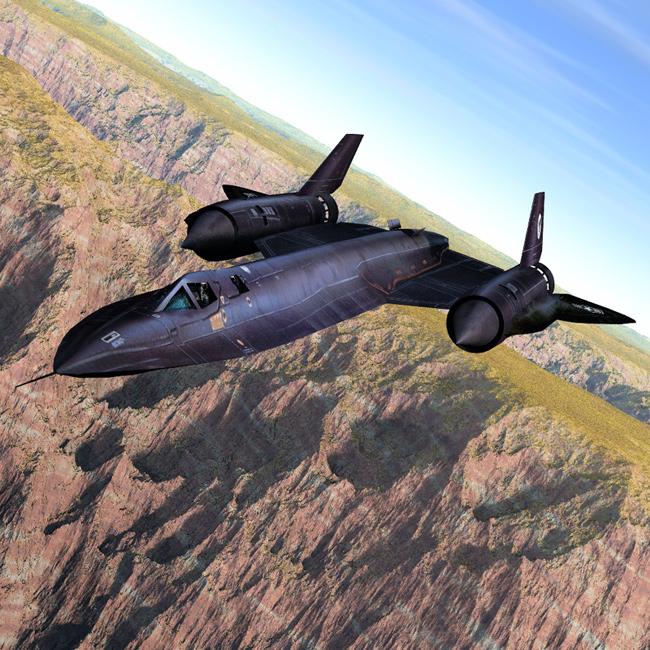 SR-71 Over the Canyon: A Vue-rendered image of our new SR-71 model.