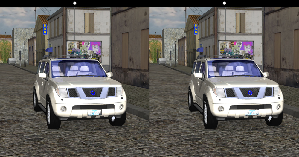 SUV 3D: Cross your eyes so the white dots merge and you`ll see the 3D image.