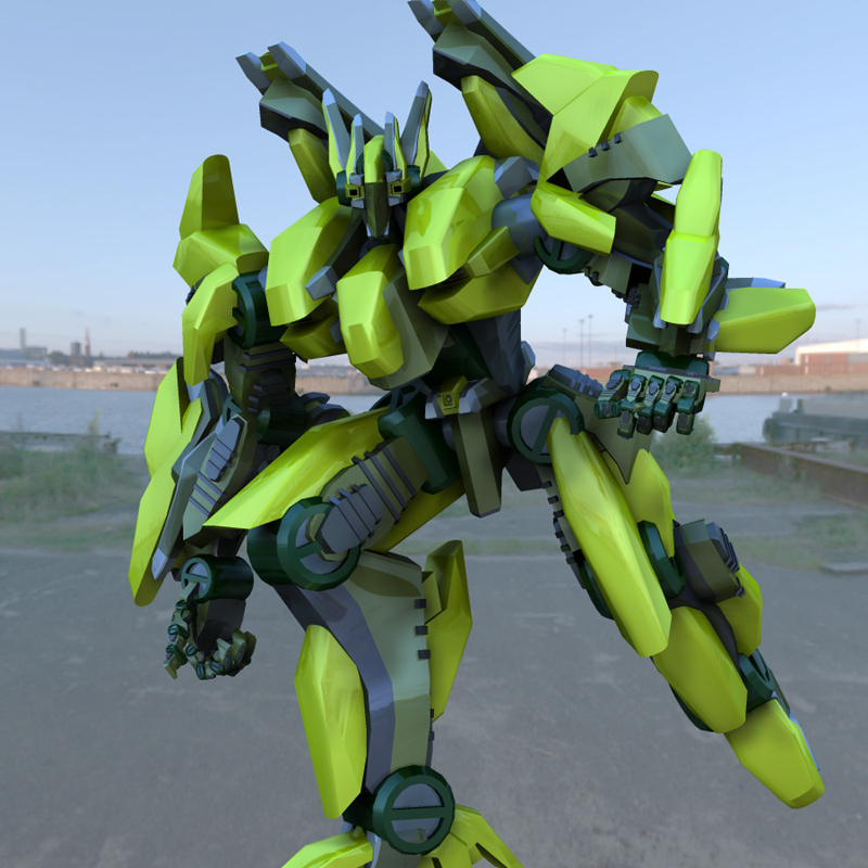By The Docks: An IBL rendered image of the Goliath Mech Robot.