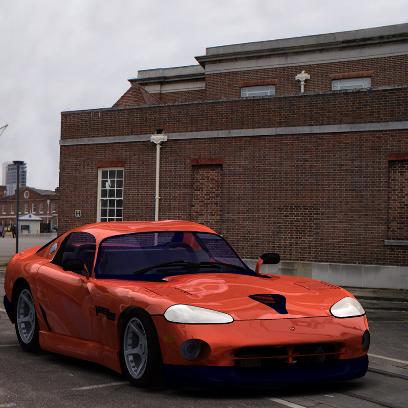 Viper at the Docks: Another IBL scene with the Dodge Viper. In case anyone is wondering, I use the Viper model since it has a nice rounded body, which shows off the reflections.