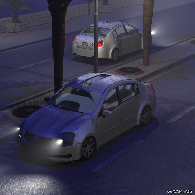 A Drive at the Beach at Night: An experiment with lighting in Poser Pro 2012. The headlights are point lights and the entire scene is lit with point lights in the overhead street lights and a dark-blue infinite light.