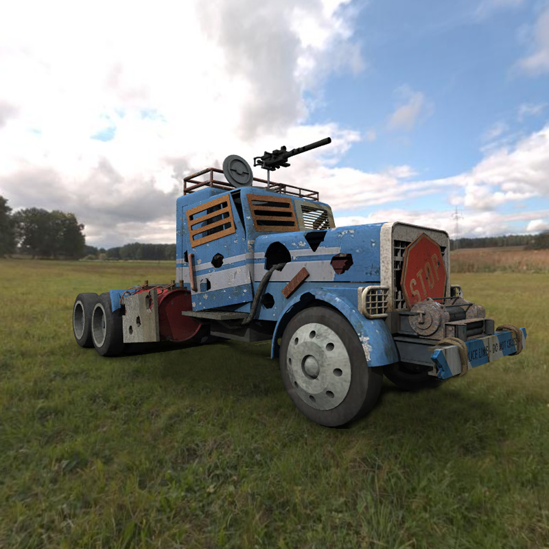 Hells Hauler in a Field: Hells Hauler model by mrsparky, rendered in Vue d`Esprit with a Global Illumination light set.