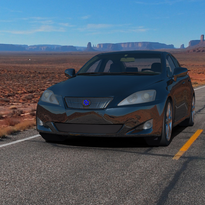 A Drive in the Desert: An image of the Luxury Sedan Car 2 rendered in Vue d`Esprit 5.