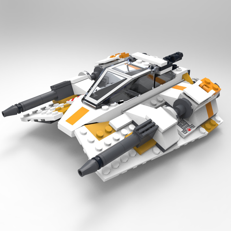 Modular Brick Snowspeeder: A render of a digital model of a LEGO Snowspeeder... Snowspeeder model available in the Modular Brick free stuff section.