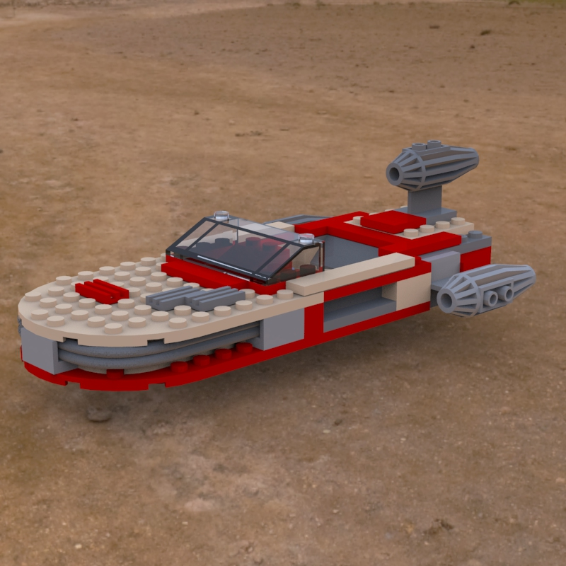 Modular Brick Landspeeder 2: A rendering of a digital model of the Modular Brick Landspeeder hovering above the ground.