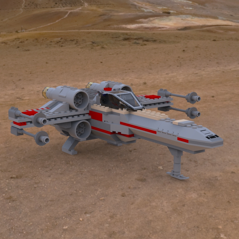Modular Brick X-Wing On Ground: A rendering of a digital model of the Modular Brick/ LEGO X-Wing Fighter landed on the ground.