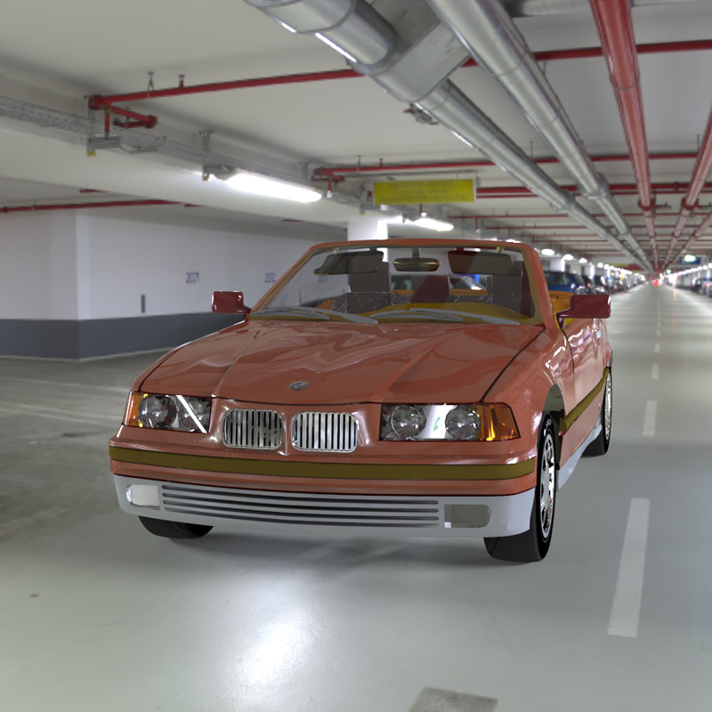 BMW in the Garage: An HDRI rendering of a digital model of a BMW 325i in a garage.